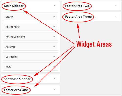 Multiple widgets areas