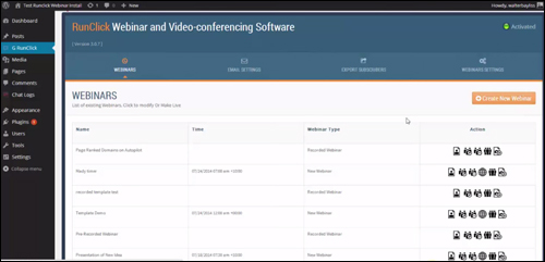 RunClick webinar and video conferencing software for WordPress